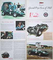 Colour Photo Art Fold Out Poster Featuring Michael Turner Of Important Contenders For The 1960 Season Cockpit And Cars In Paddock Etc