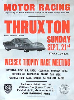 1834 THRUXTON WESSEX TROPHY MEETING Original Poster For A Programme Of 60s Club Racing Including GTs Formula Fords Production Sports Cars Etc
