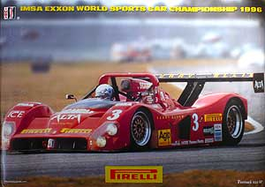 No1844 FERRARI OLDSMOBILE IMSA EXXON SPORTS CAR POSTER A Double Sided Poster From 1996 Sponsors Pirelli Showing Ferrari 333SP On One Side