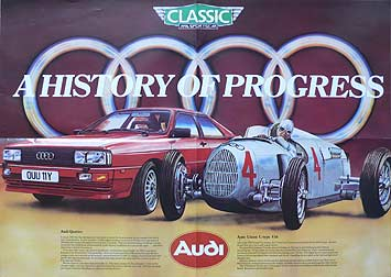 Promotional Poster For The Audi Quattro From 1983 Showing It Side By With C Type Auto Union Of 1936 Originally Presented Classic Sportscar