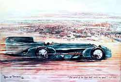 BLUEBIRD CAMPBELL Bryan De Grineau Motor Colour Print Supplement Of Malcolm Campbell At Daytona In 1931 8x11in